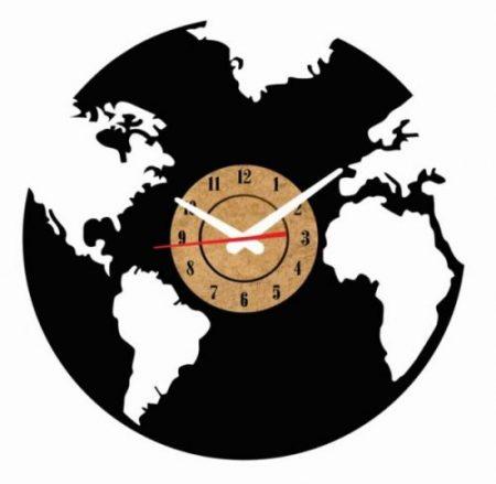 reloj pared vinilo mapa mundi