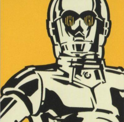 cuadro robot star wars dorado