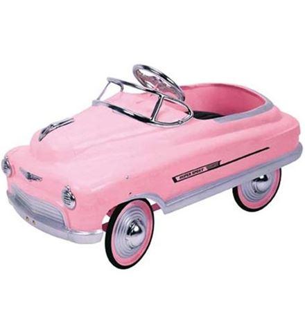 coche taxi a pedales rosa