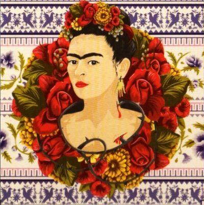 cuadro frida khalo y flores