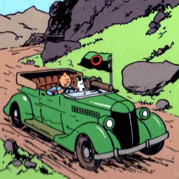lamina tintin coche verde