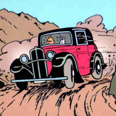 cuadro tintin conduciendo