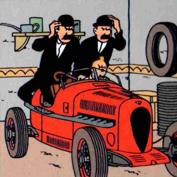 lamina tintin hermanos hernandez y fernandez coche