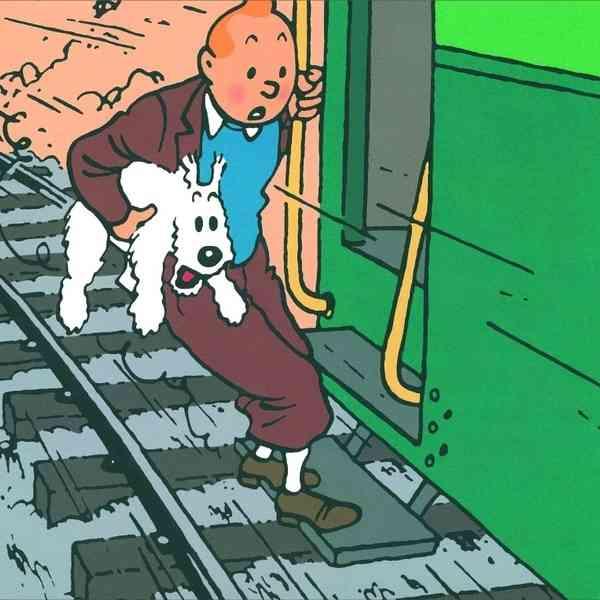 tinitn y milu saltando del tren