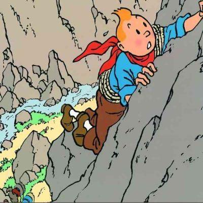 tintin escalando una montaña cuadro