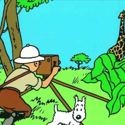tintin y milu en el safari