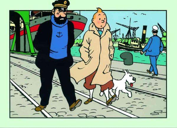 lamina tintin y haddock paseando por el puerto