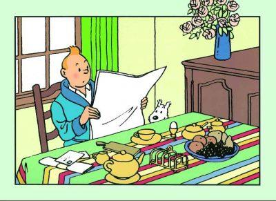 lamina tintin desayunando